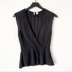 Moth Anthropologie Black Wrap Crochet Vest Large